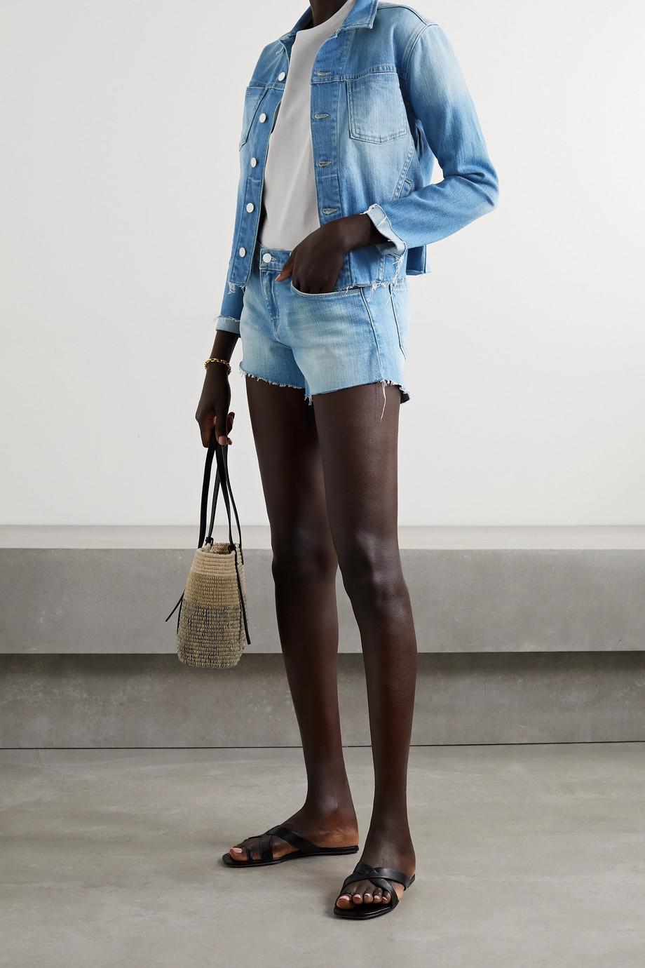 L'Agence Janelle cropped frayed denim jacket