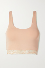 Skin + NET SUSTAIN The Comfort lace-trimmed stretch organic Pima cotton-jersey bralette