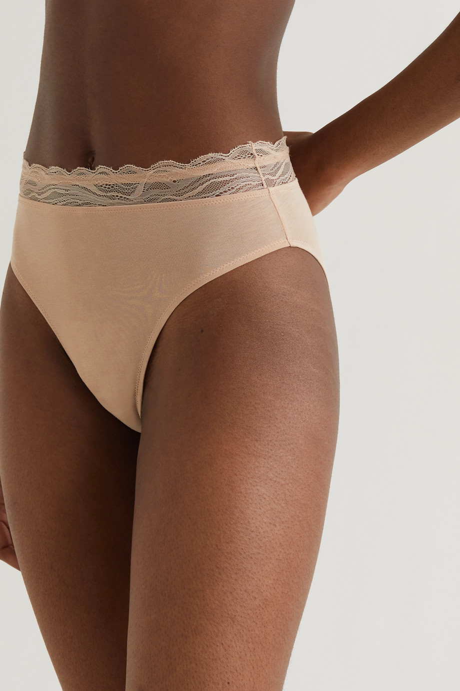 Skin + NET SUSTAIN The Comfort lace-trimmed stretch organic Pima cotton-jersey briefs
