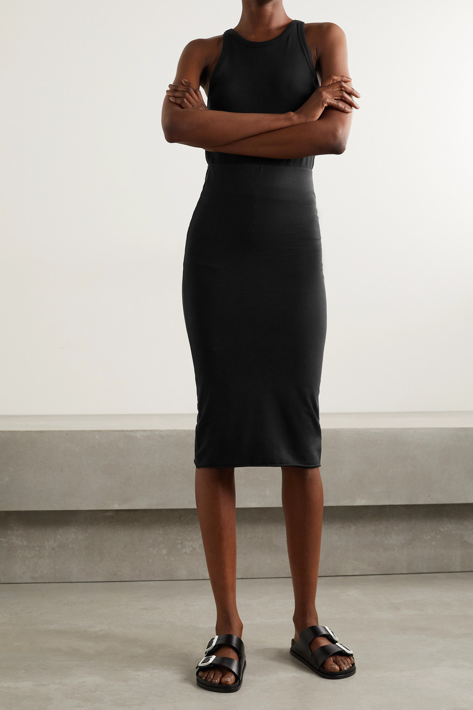 Skin + NET SUSTAIN Terra stretch organic Pima cotton-jersey midi skirt