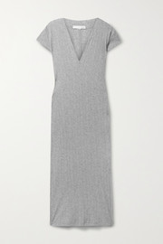 Skin Rabia ribbed mélange Pima cotton-jersey nightdress