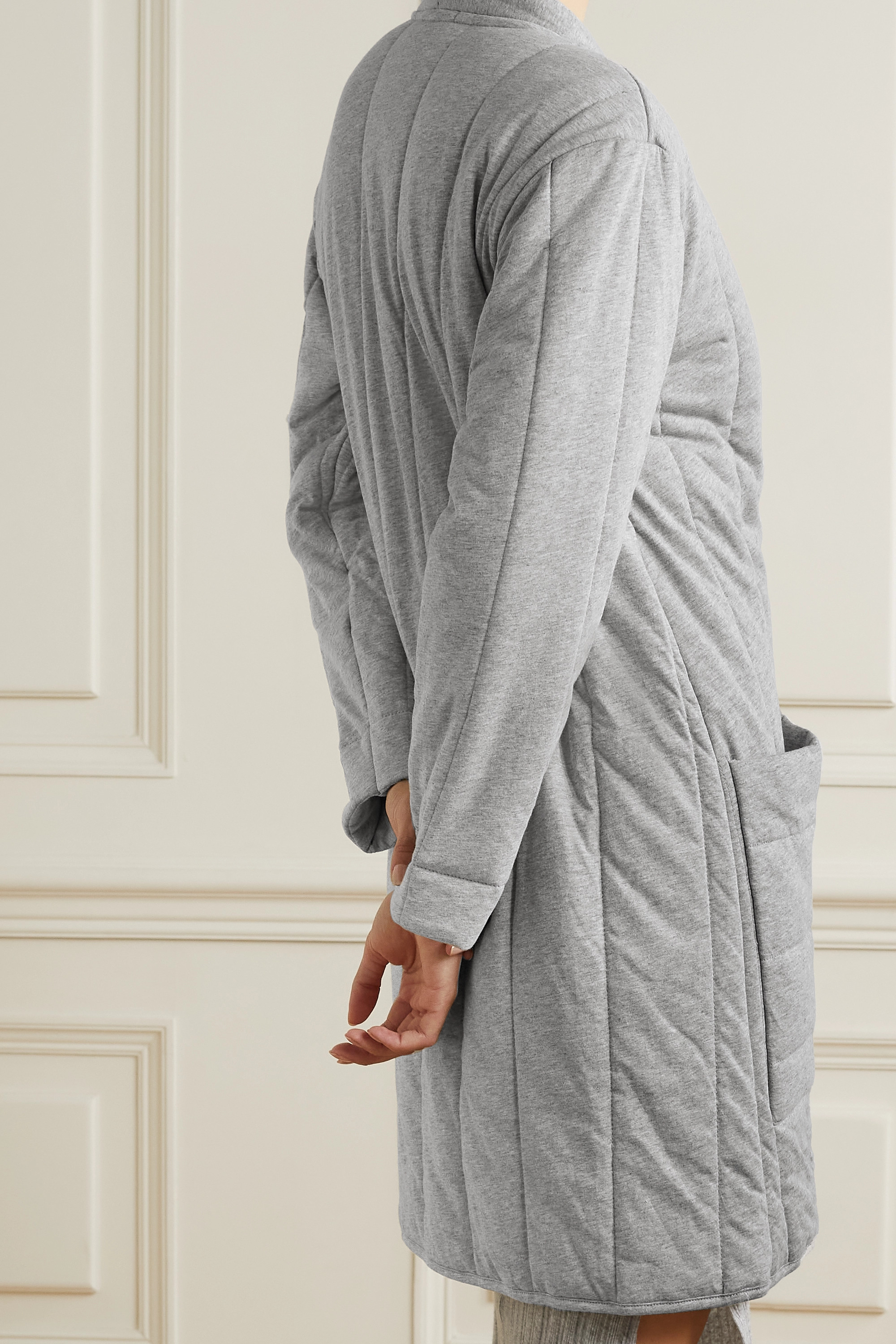 Skin Stormie quilted mélange cotton-jersey robe