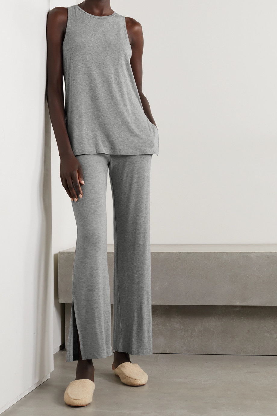 Skin Lumi Pyjama-Hose aus meliertem Stretch-Jersey