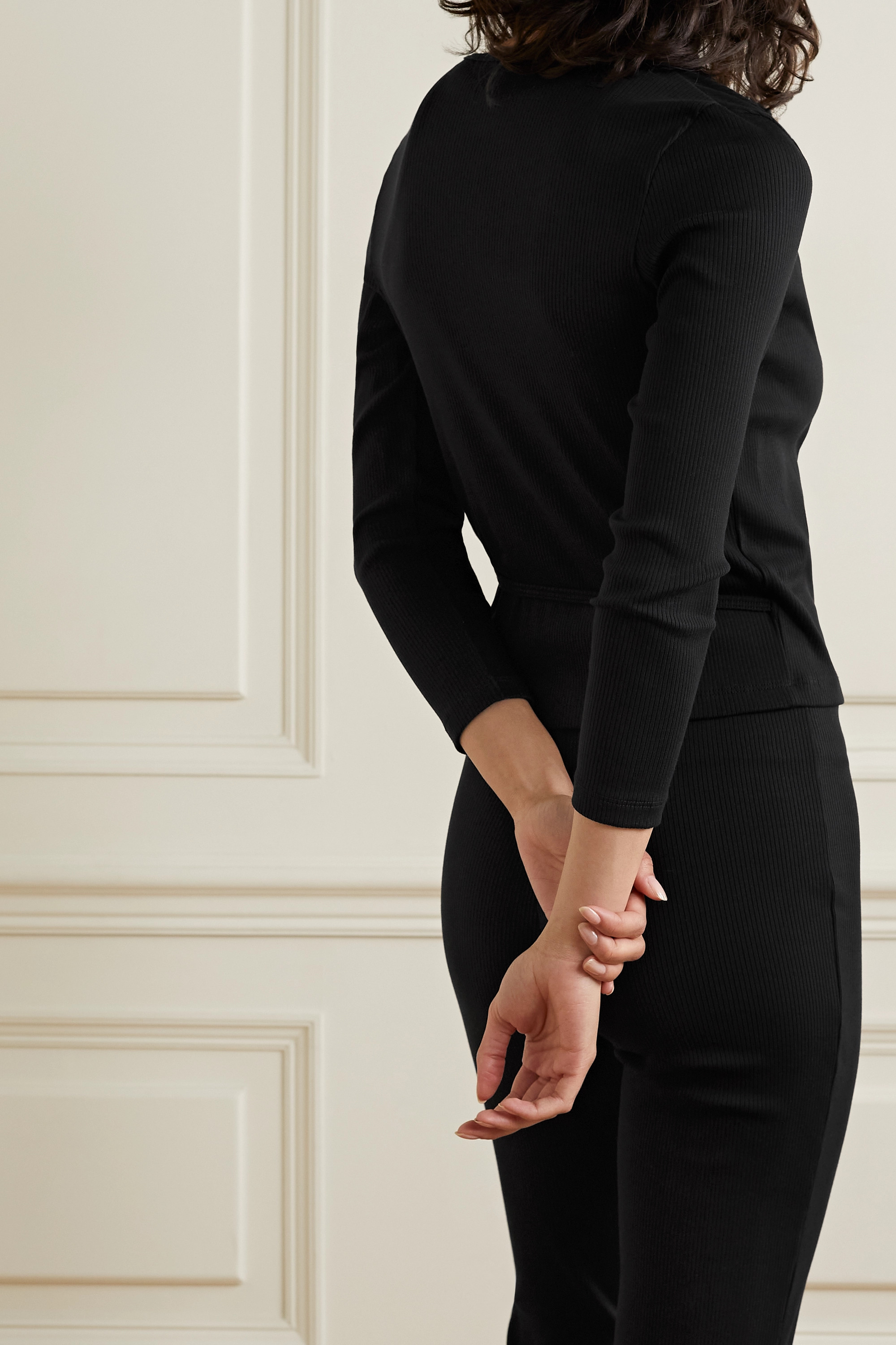 Skin + NET SUSTAIN Isabel ribbed stretch-organic Pima cotton jersey wrap top