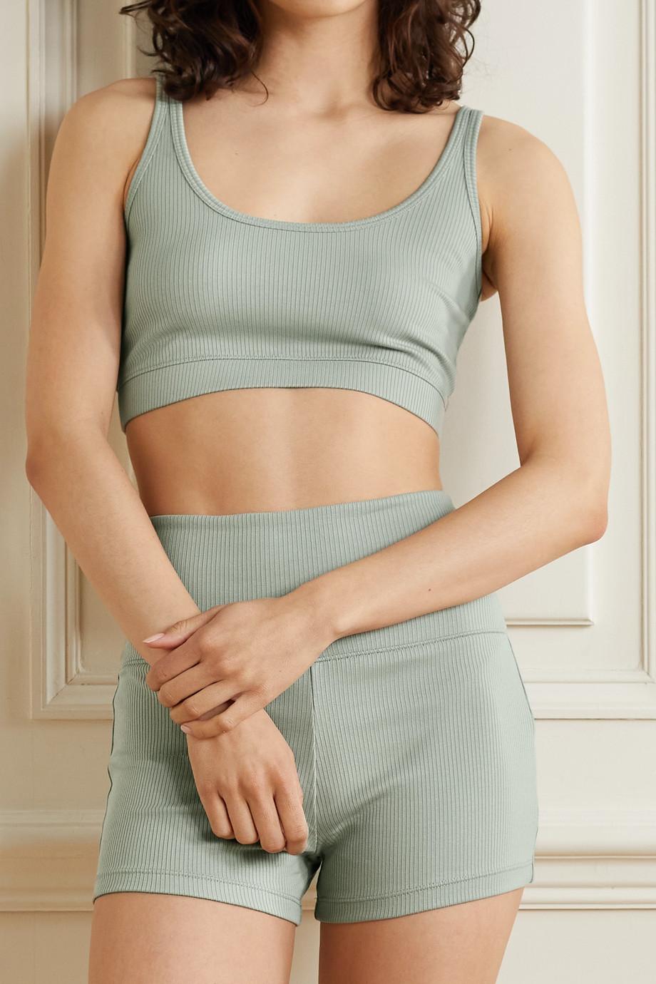 Skin + NET SUSTAIN Ieva Shorts aus geripptem Bio-Pima-Baumwoll-Jersey mit Stretch-Anteil