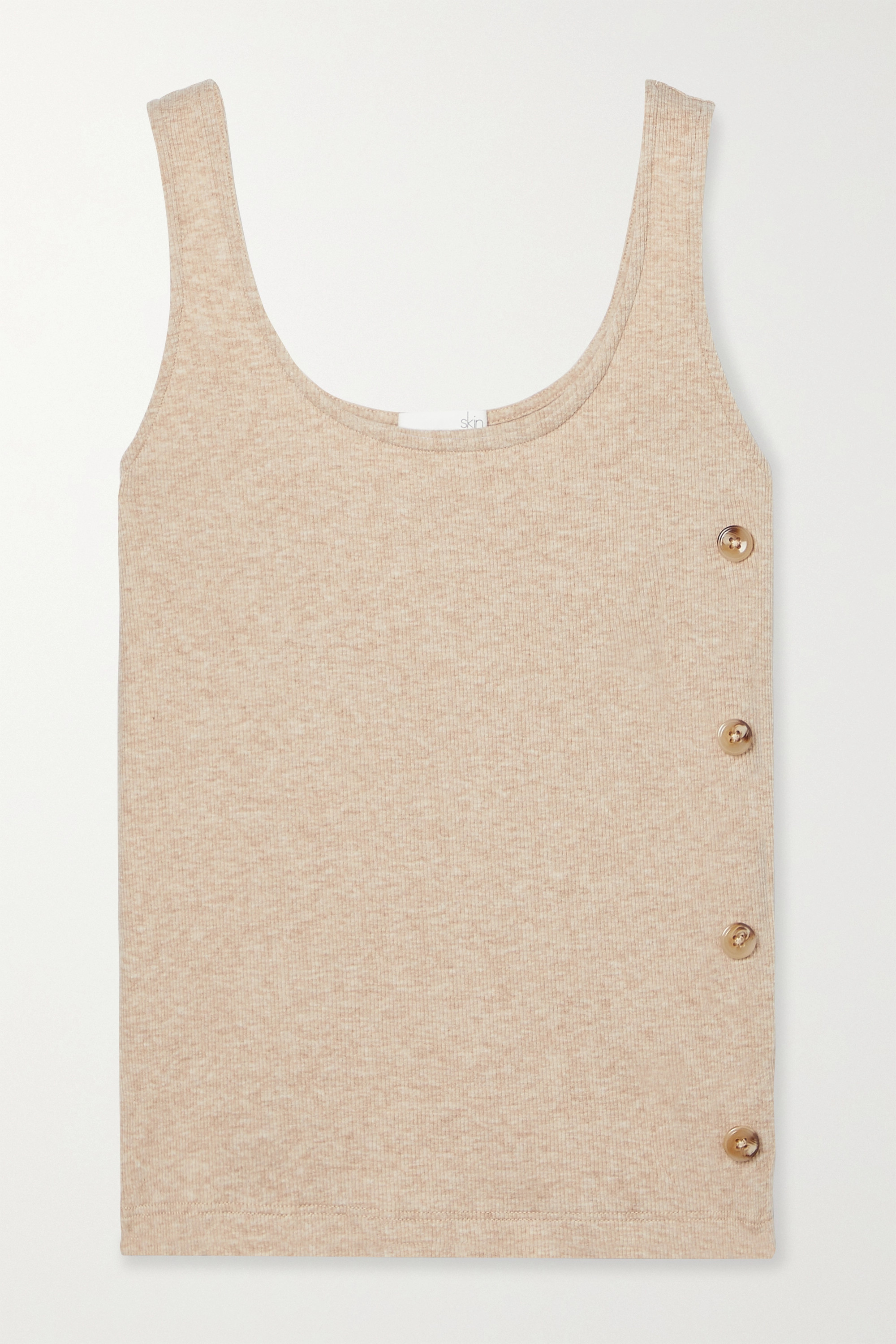 Skin + NET SUSTAIN Naima button-embellished ribbed stretch organic Pima cotton and modal-blend tank