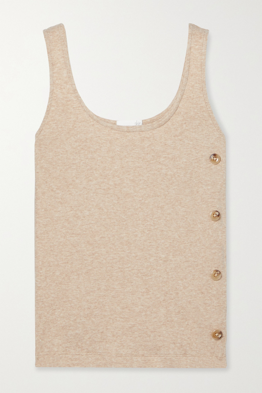 Skin Naima button-embellished ribbed stretch Pima cotton and modal-blend tank
