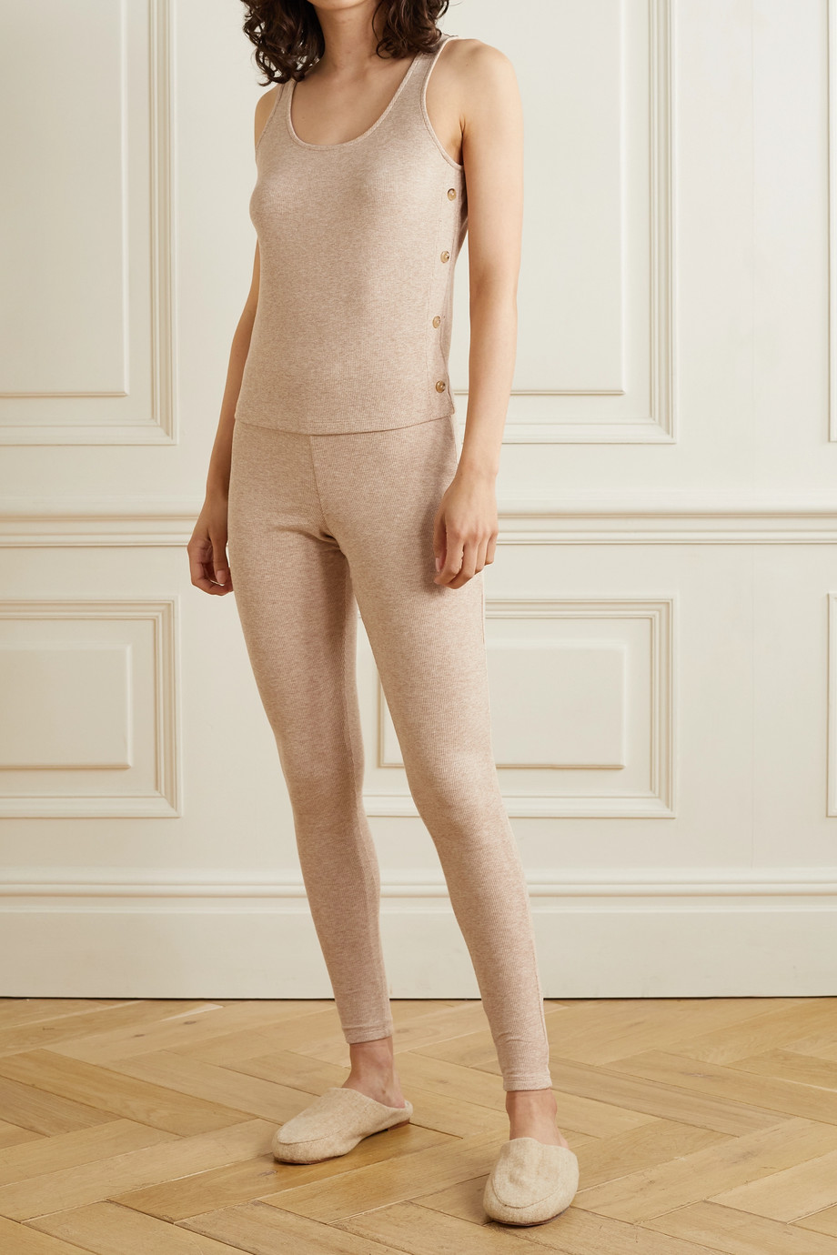 Skin Norma ribbed stretch Pima cotton and modal-blend leggings