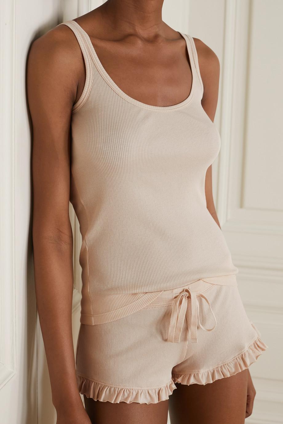 Skin Raise and Raffaela ribbed Pima cotton pajama set