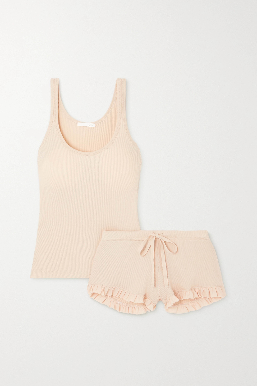 Skin + NET SUSTAIN Raise and Raffaela ribbed organic Pima cotton pajama set
