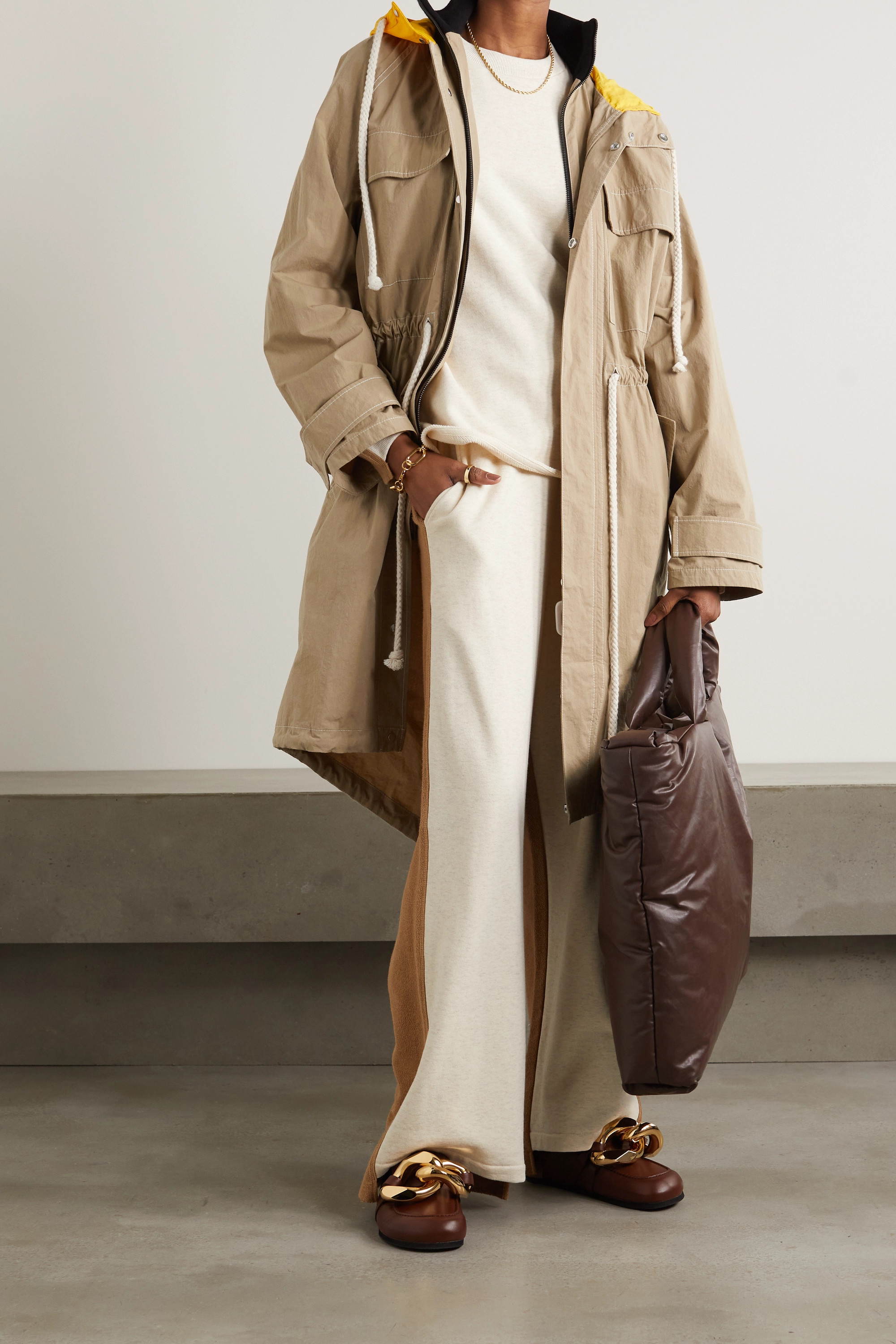 JW Anderson Hooded jersey and shell-trimmed cotton-blend canvas jacket