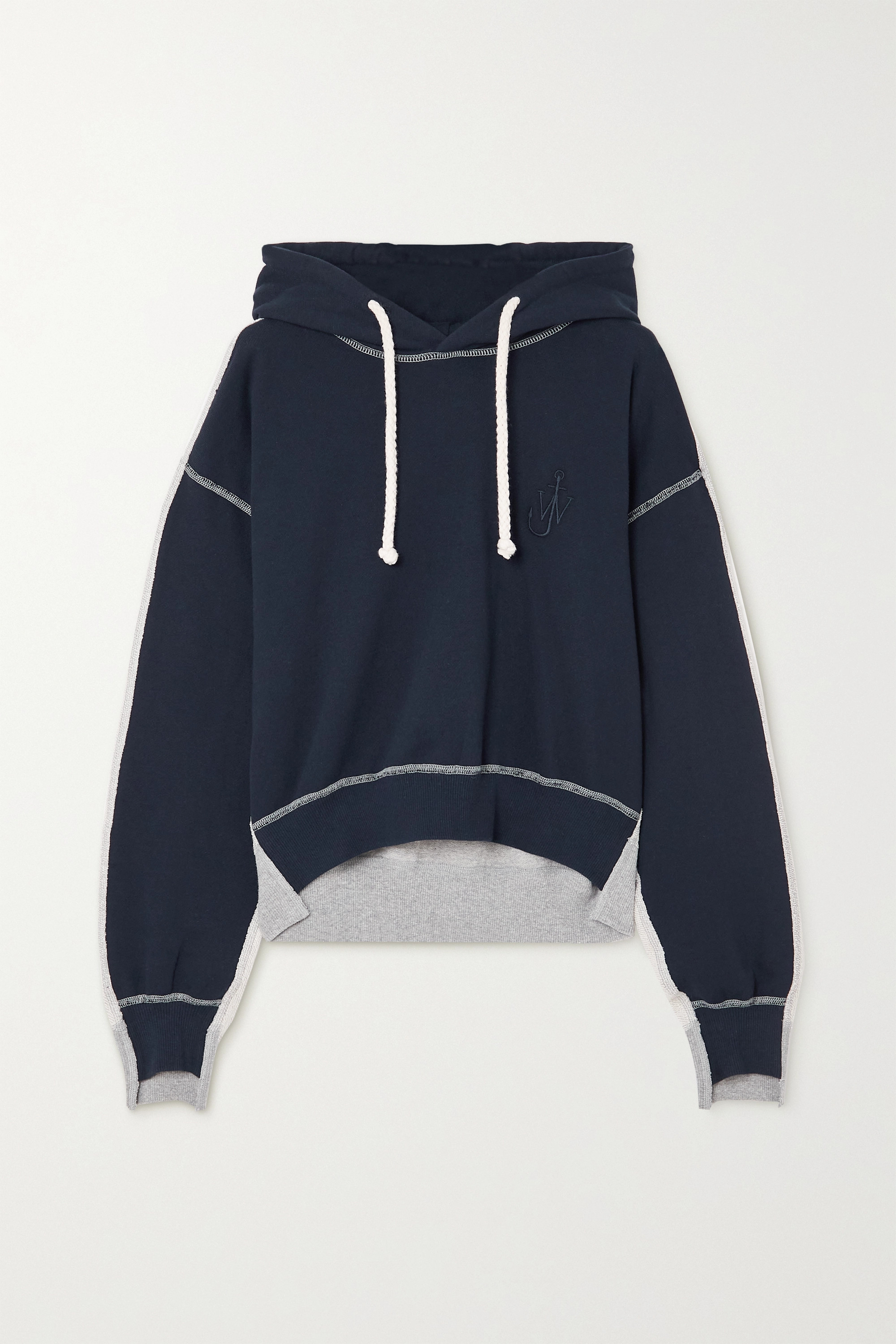 JW Anderson Paneled cotton-terry and jersey hoodie