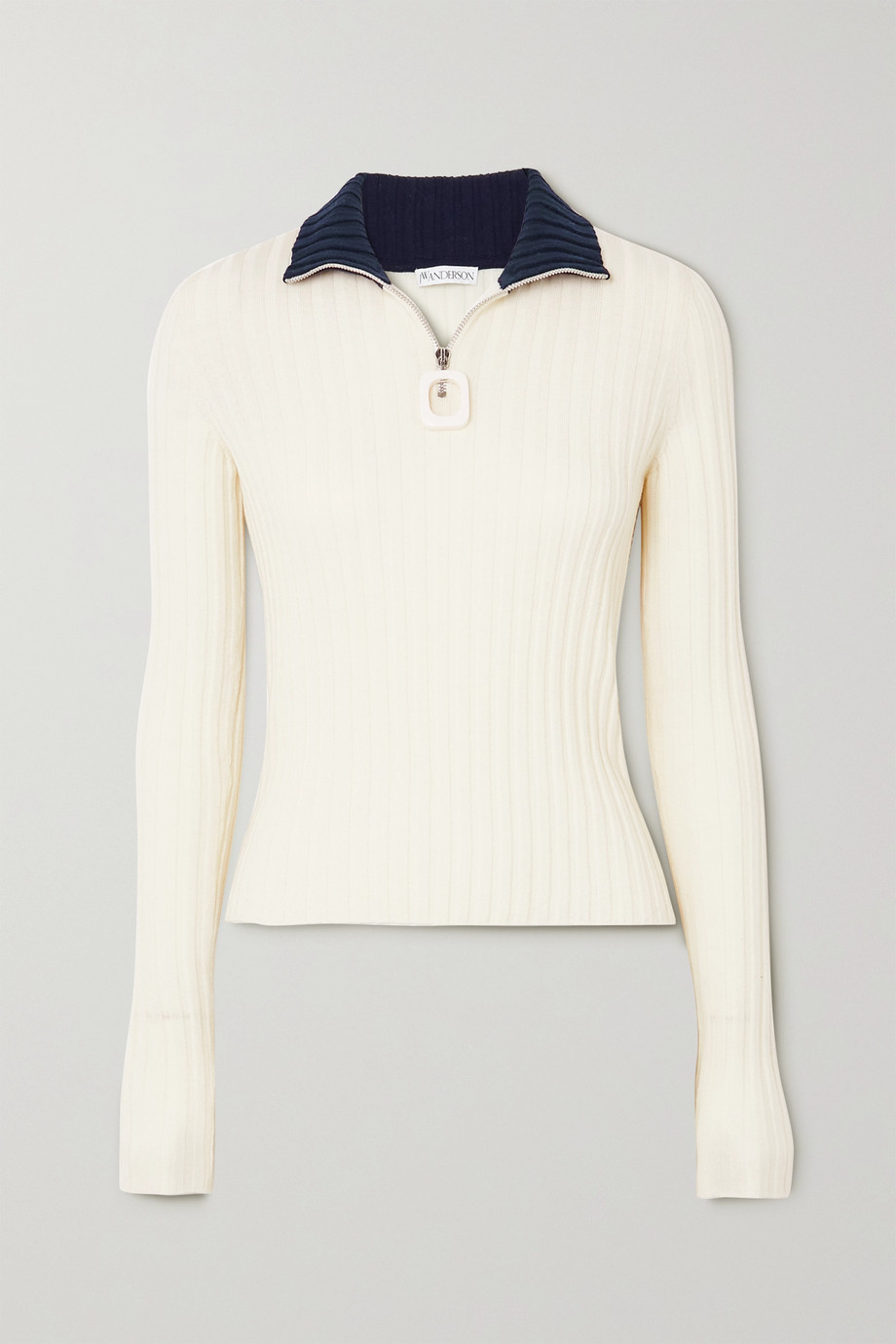 JW Anderson Infinity two-tone ribbed merino wool sweater
