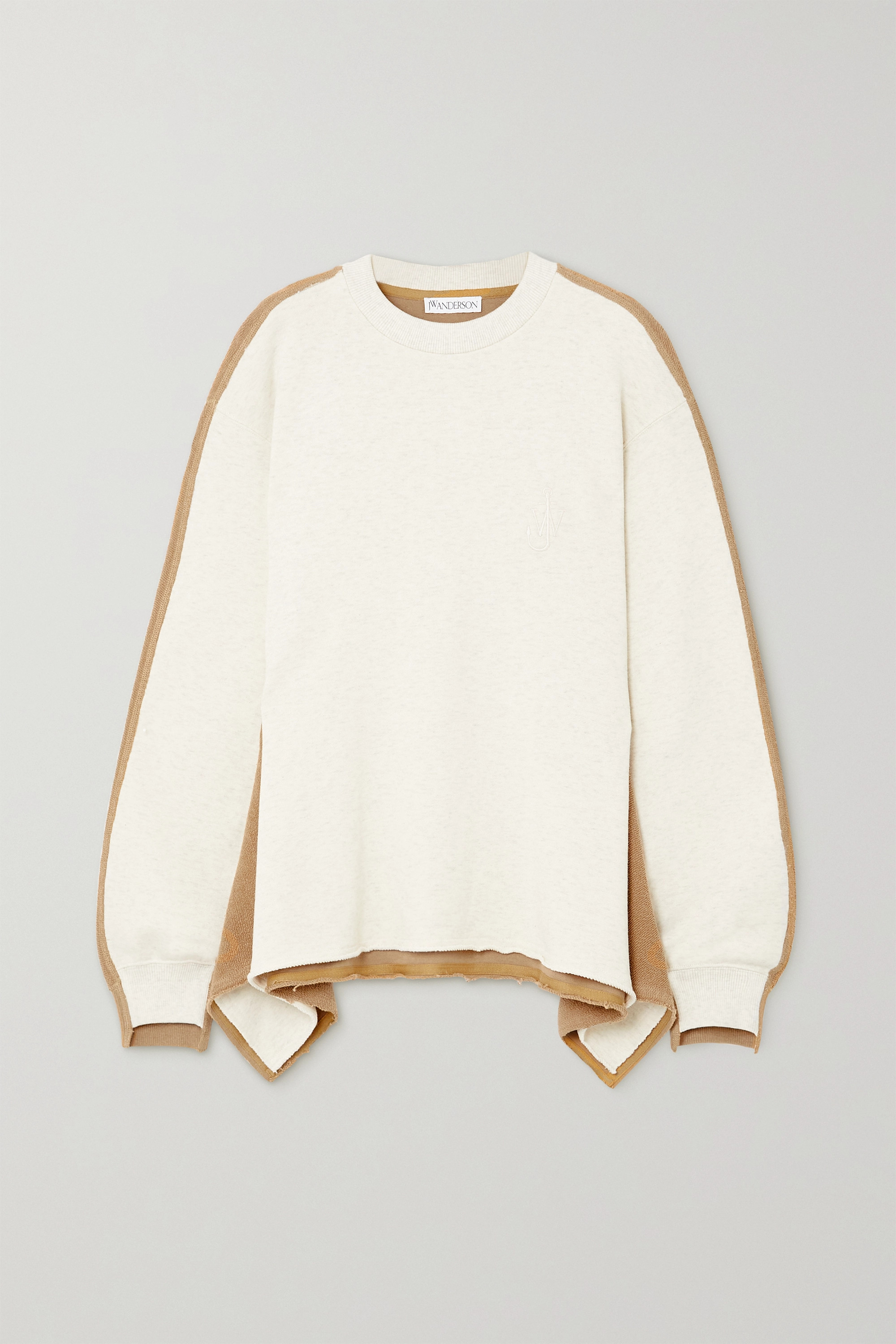 JW Anderson Draped paneled cotton-terry and jersey sweatshirt