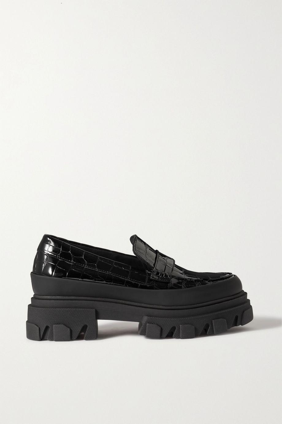 GANNI Glossed croc-effect leather platform loafers
