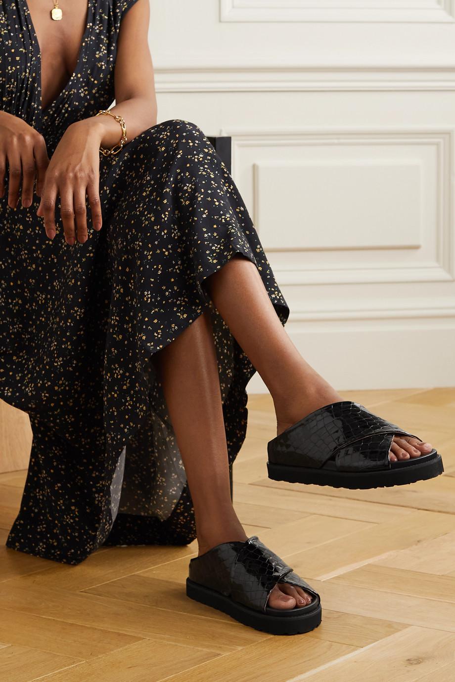 GANNI Glossed croc-effect leather slides