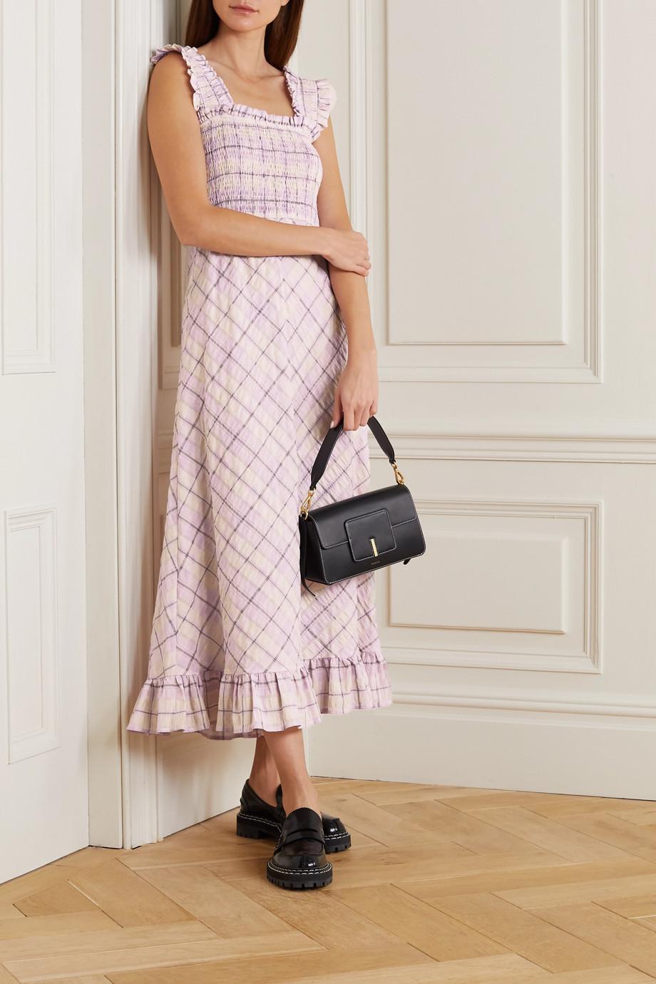 GANNI Ruffled smocked checked organic cotton-blend seersucker midi dress