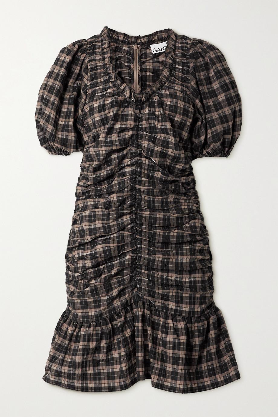 GANNI Ruffled ruched checked organic cotton-blend seersucker mini dress