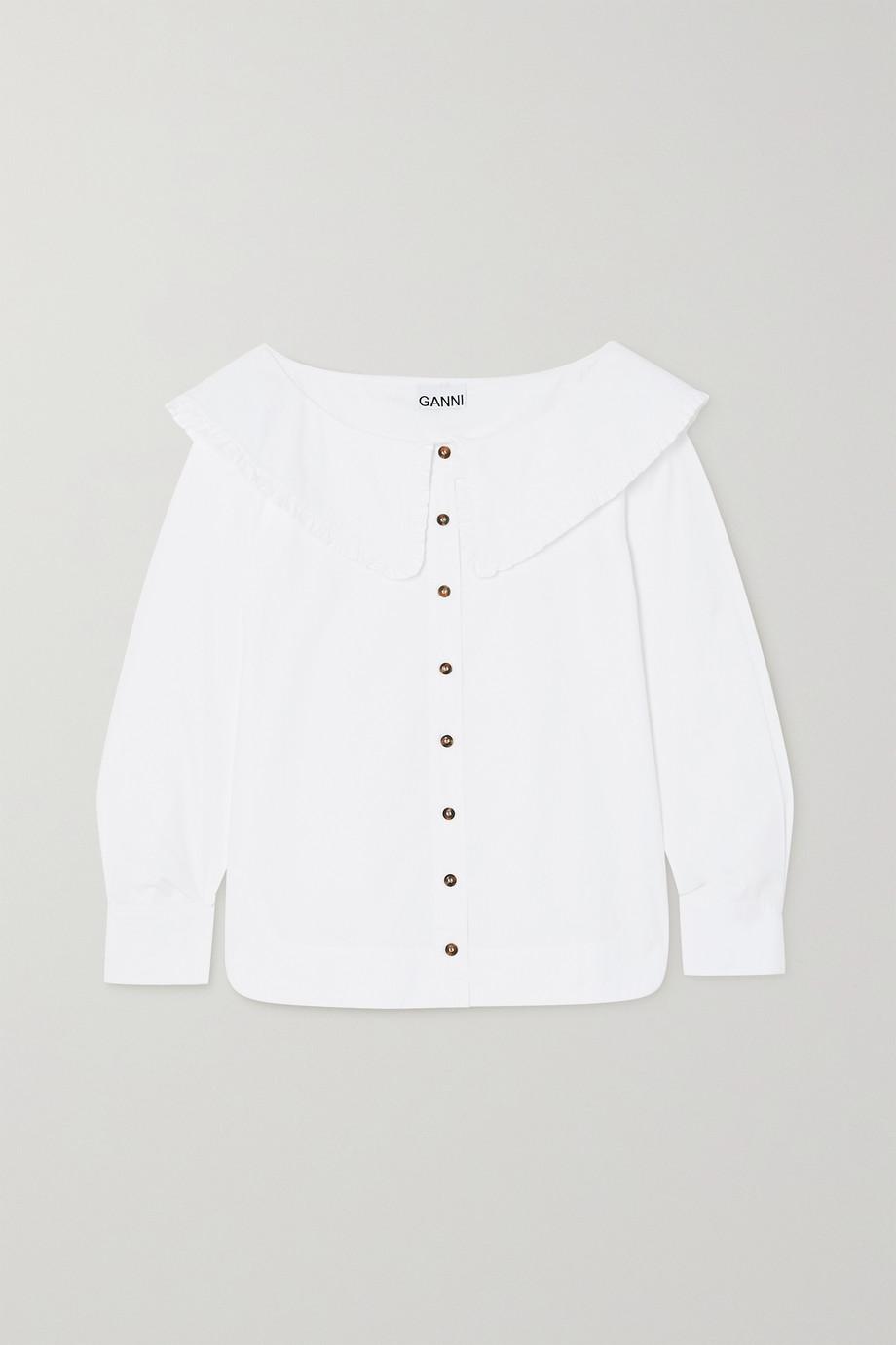 GANNI Ruffled organic cotton-poplin blouse