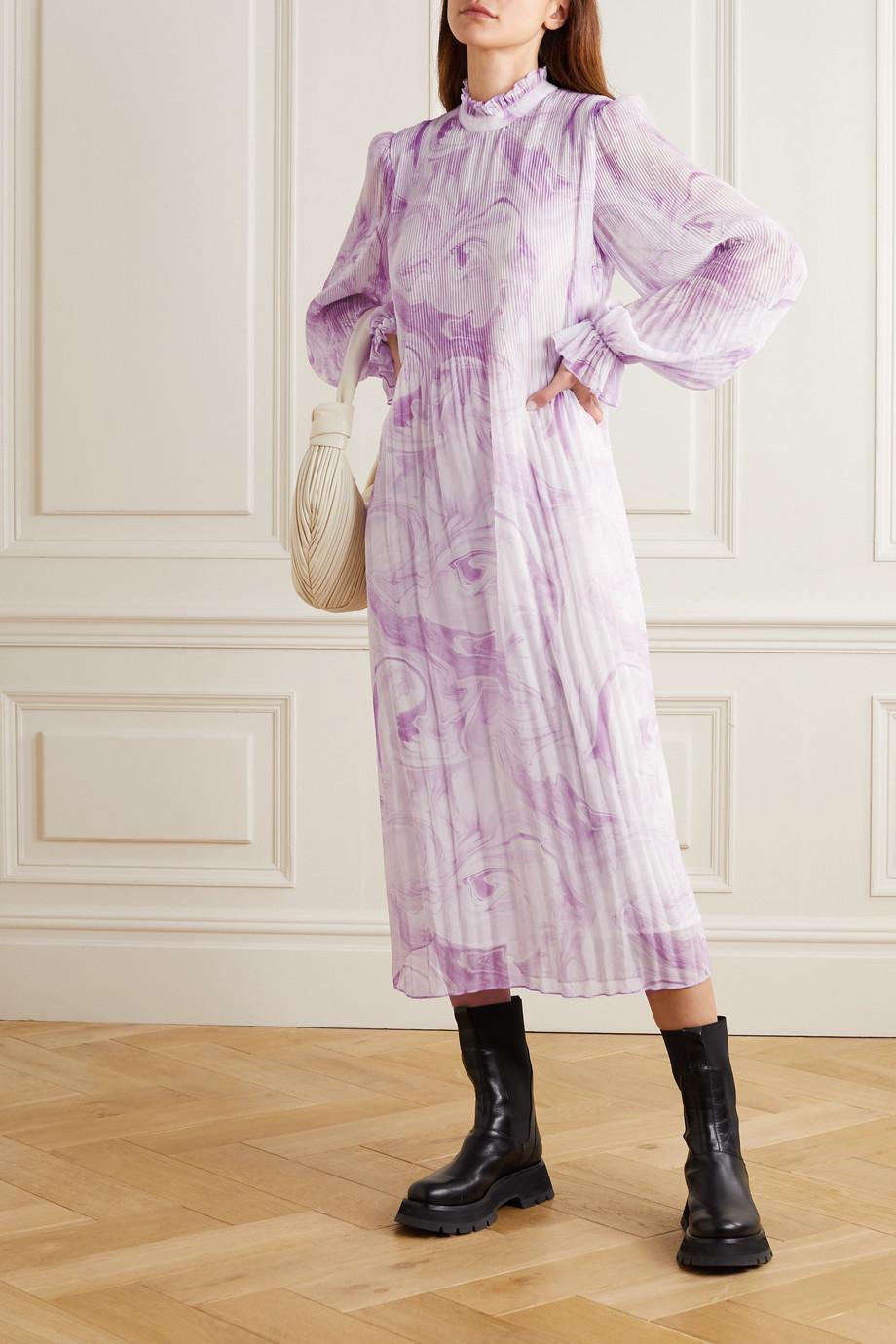 GANNI Printed plissé-georgette midi dress