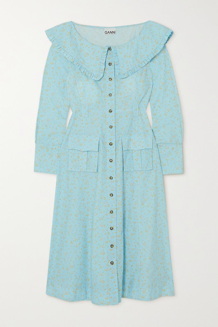 GANNI Floral-print organic cotton-poplin midi dress