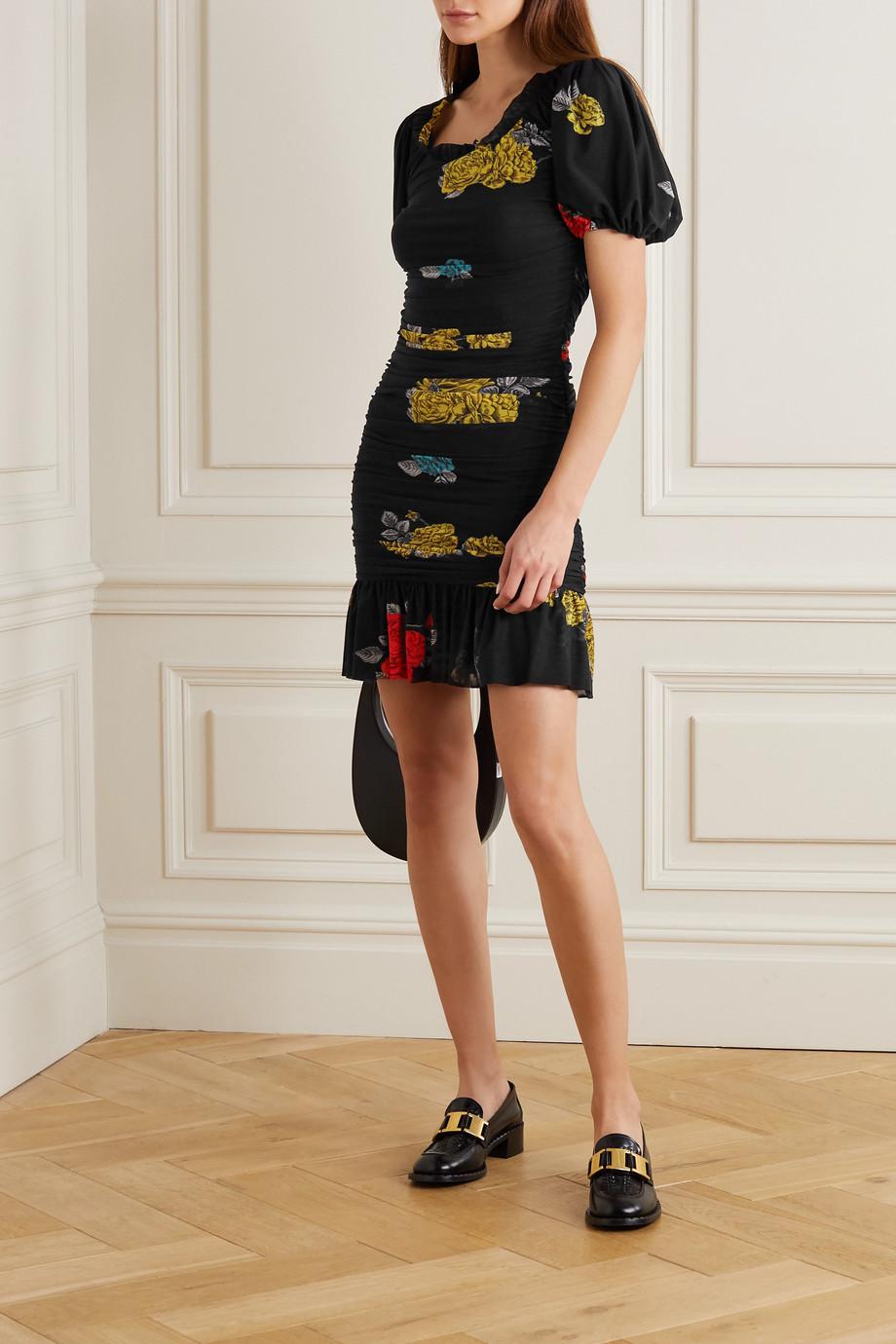 GANNI Ruffled ruched floral-print mesh mini dress
