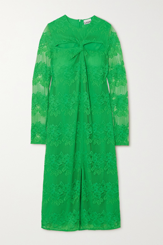 GANNI Cutout twisted lace midi dress