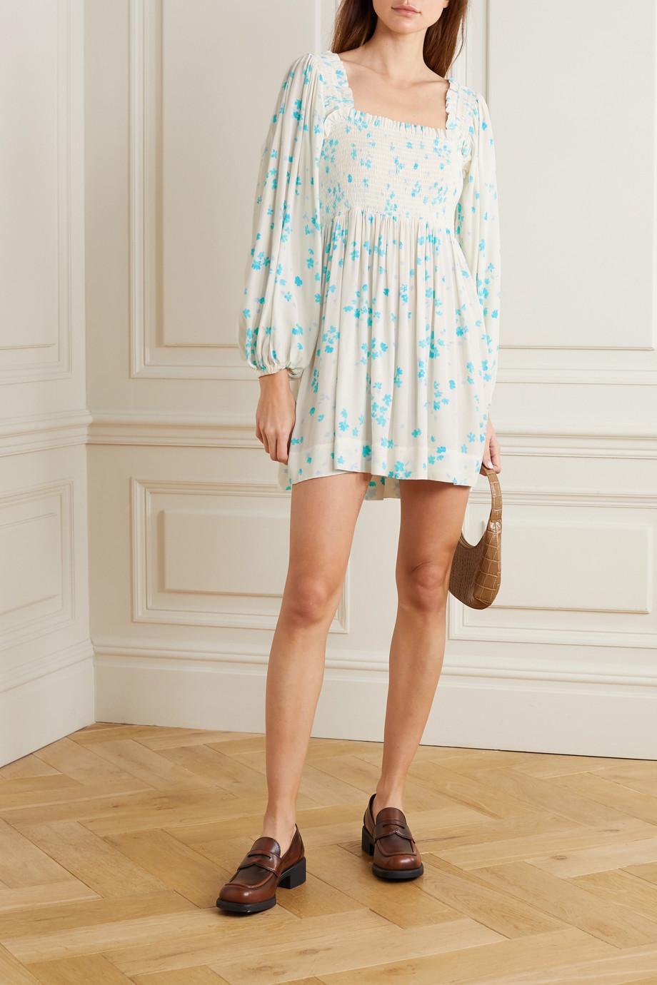 GANNI Shirred floral-print crepe mini dress