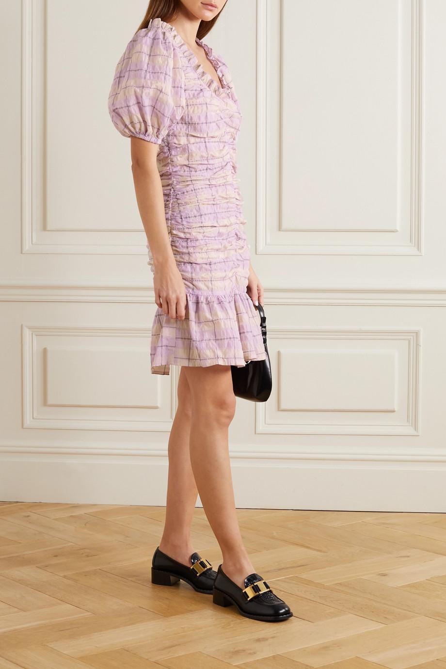GANNI Ruched checked organic cotton-blend seersucker mini dress