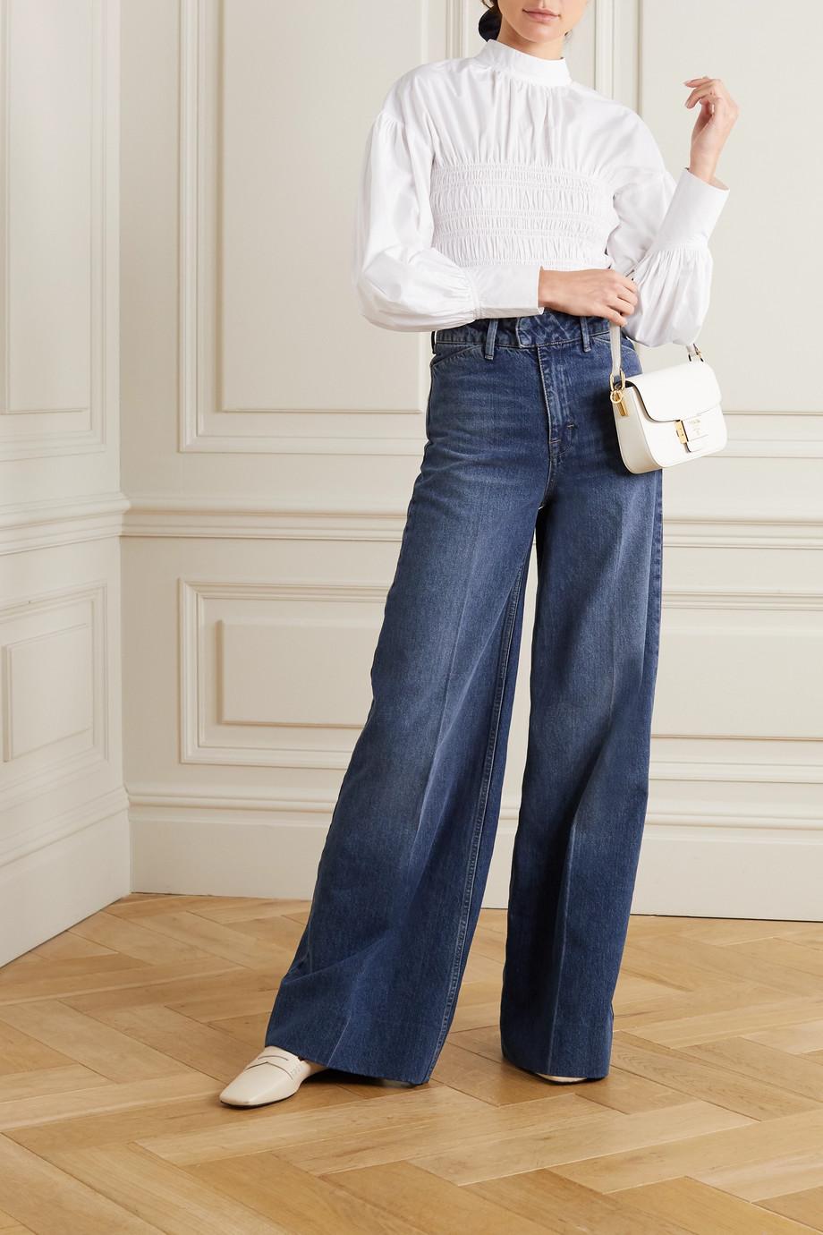 GANNI Shirred organic cotton-poplin blouse