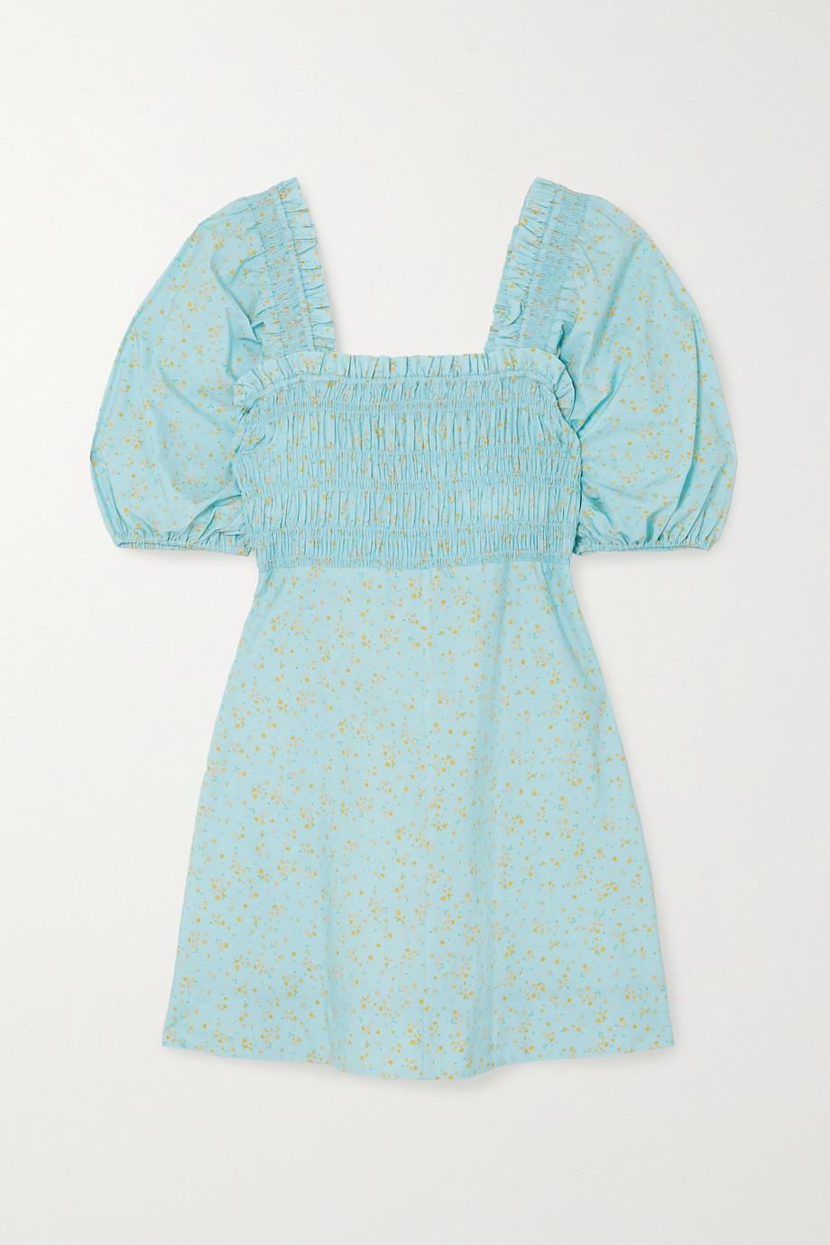 GANNI Shirred floral-print organic cotton-poplin mini dress