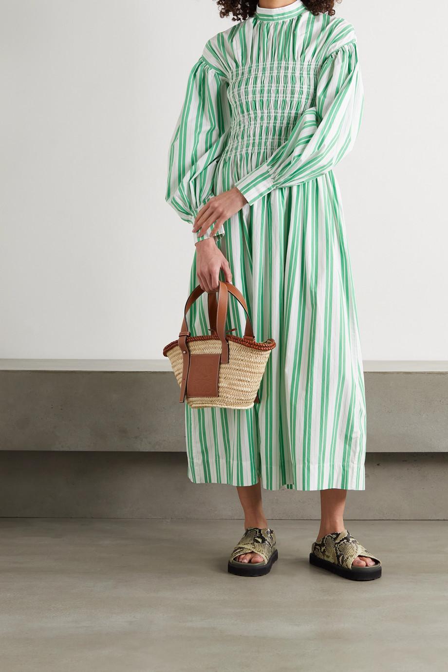 GANNI Shirred striped organic cotton-poplin midi dress