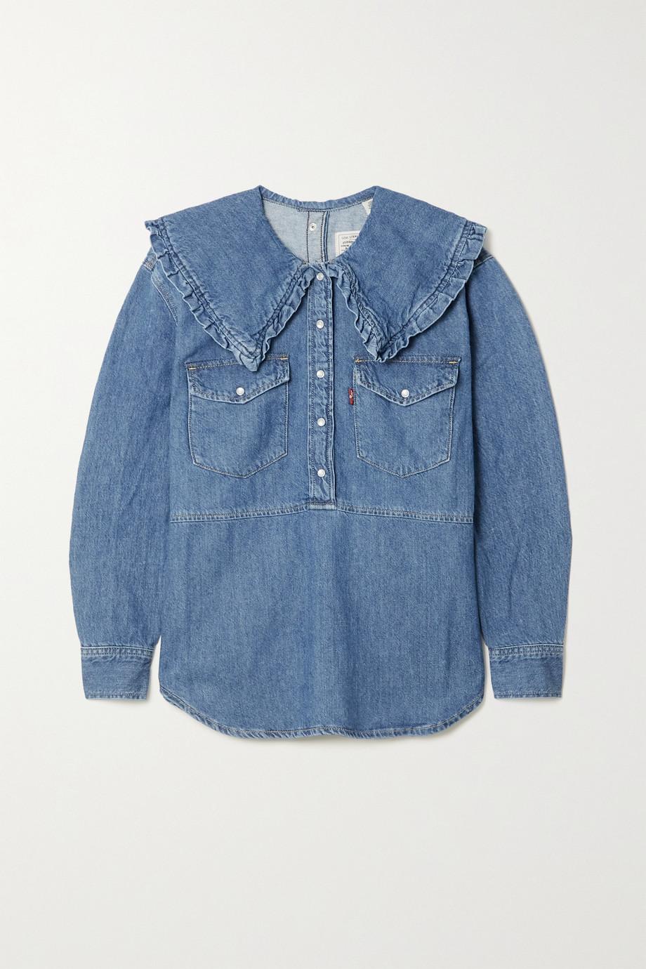 GANNI + Levi's ruffled denim blouse