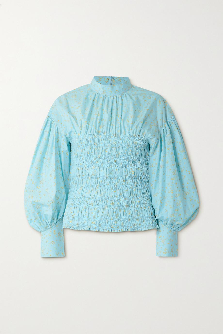 GANNI Shirred floral-print organic cotton-blend poplin blouse