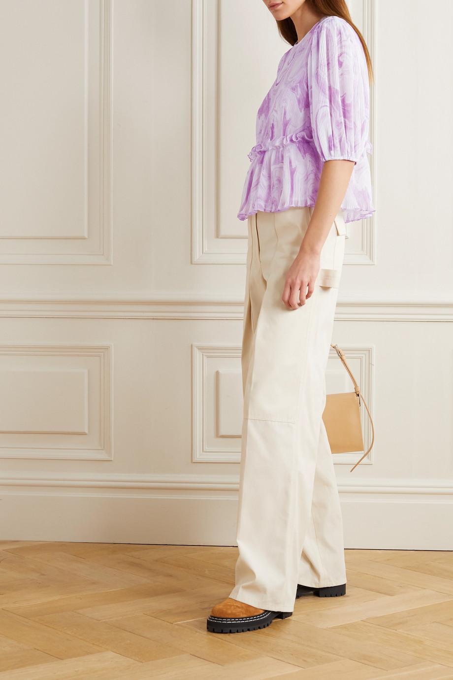 GANNI Ruffled printed plissé-georgette blouse