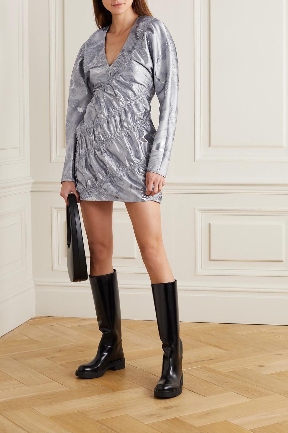 GANNI Gathered metallic jacquard mini dress