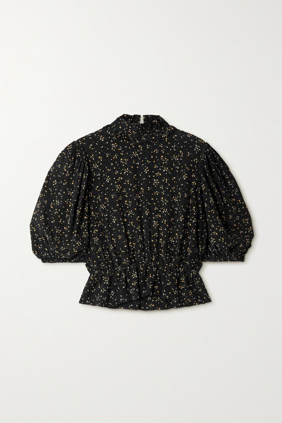 GANNI Ruffled floral-print crepe peplum top