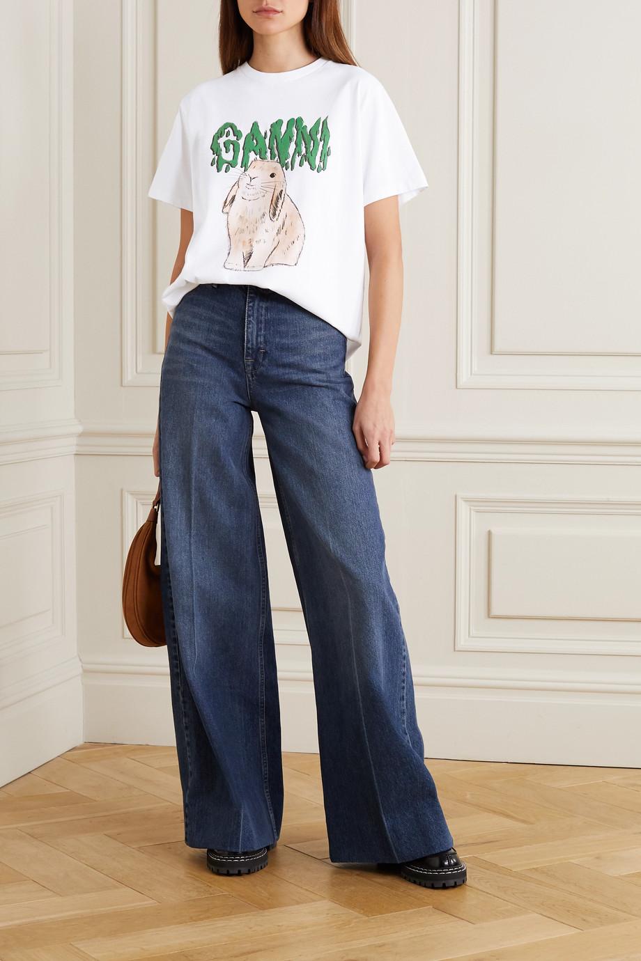 GANNI Printed organic cotton-jersey T-shirt