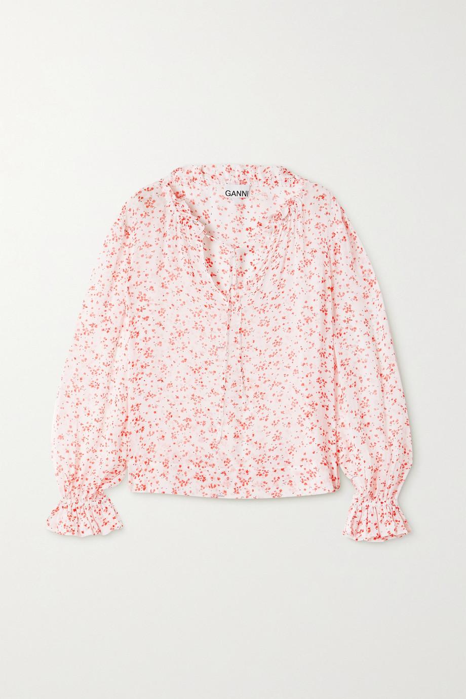 GANNI Ruffled floral-print georgette blouse