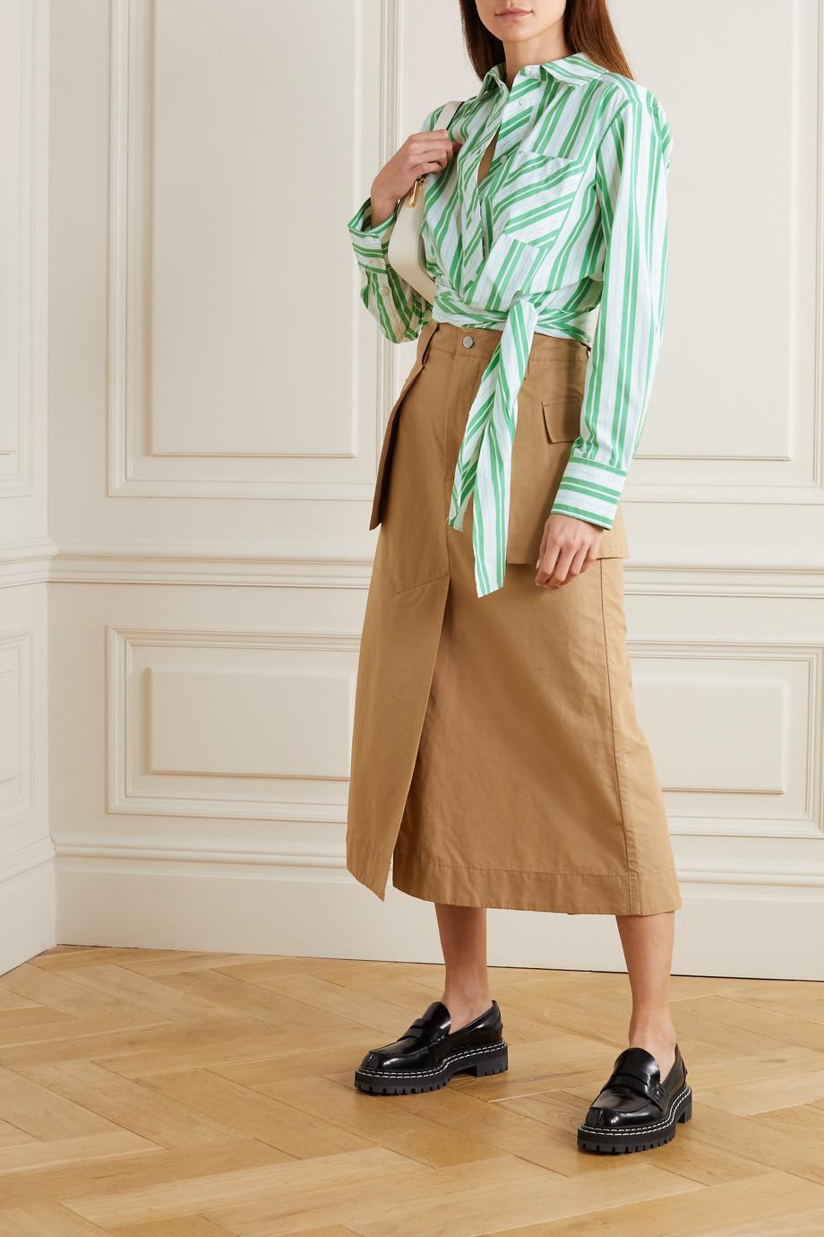 GANNI Tie-detailed striped organic cotton-poplin shirt
