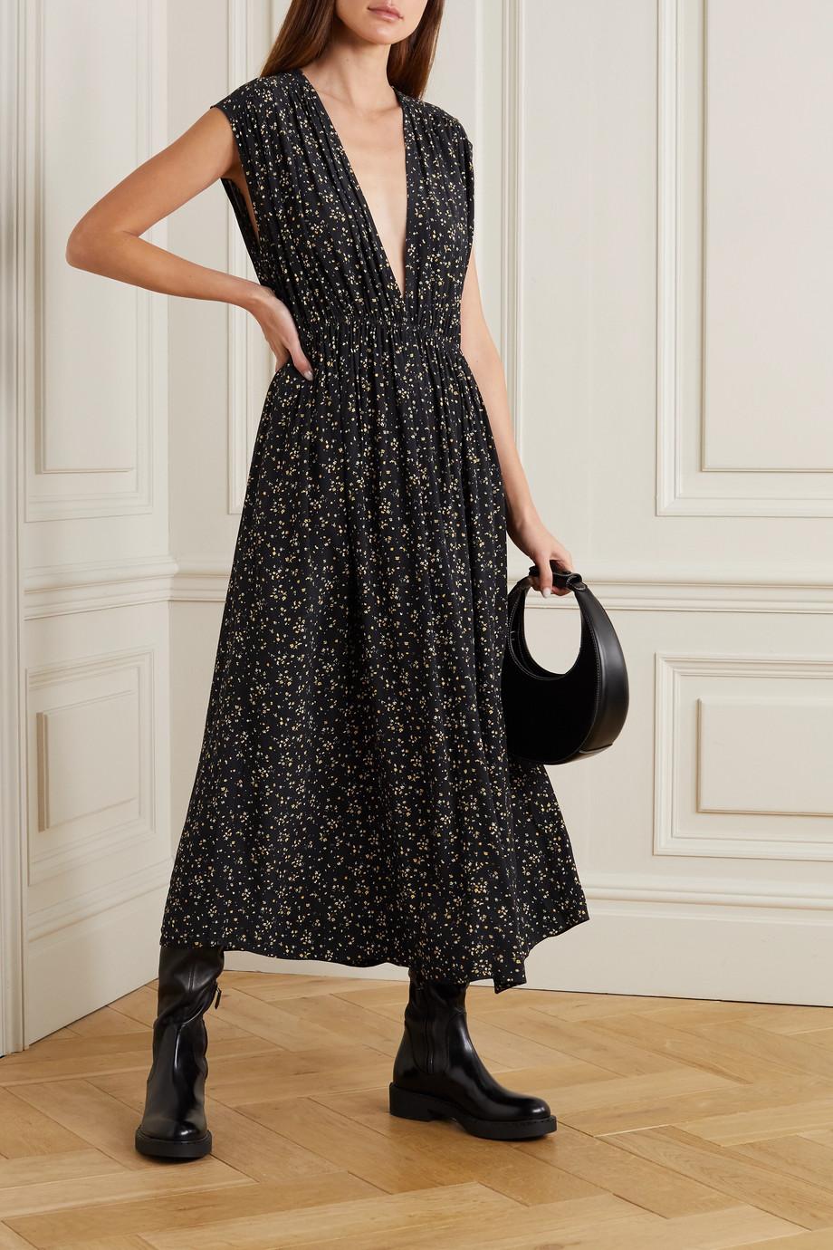 GANNI Pleated floral-print crepe midi dress