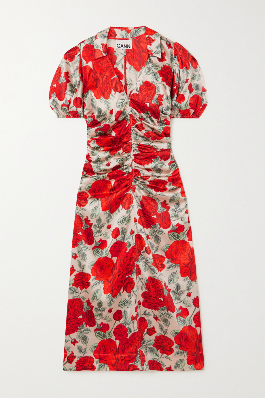 GANNI Ruched floral-print silk-blend satin midi dress