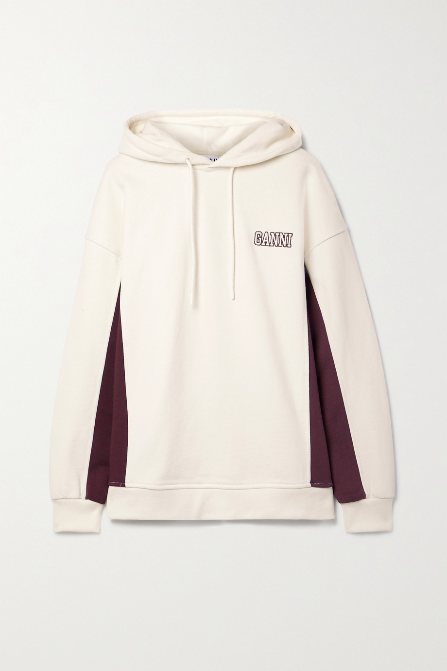 GANNI Software Isoli embroidered cotton-blend jersey hoodie