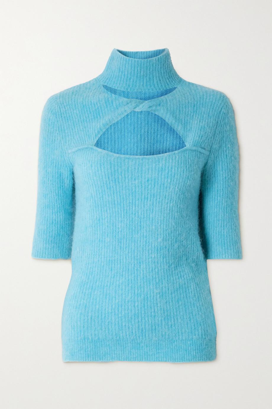 GANNI Cutout twist-front ribbed-knit sweater
