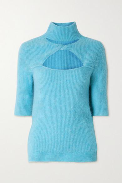 Ganni Wools CUTOUT TWIST-FRONT RIBBED-KNIT SWEATER