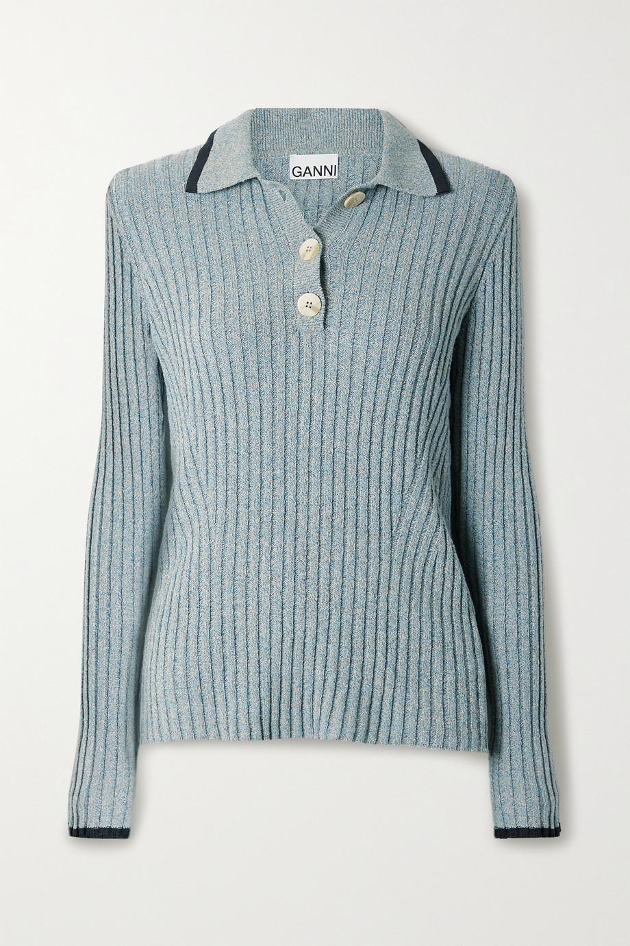 GANNI Ribbed mélange linen and cotton-blend polo shirt