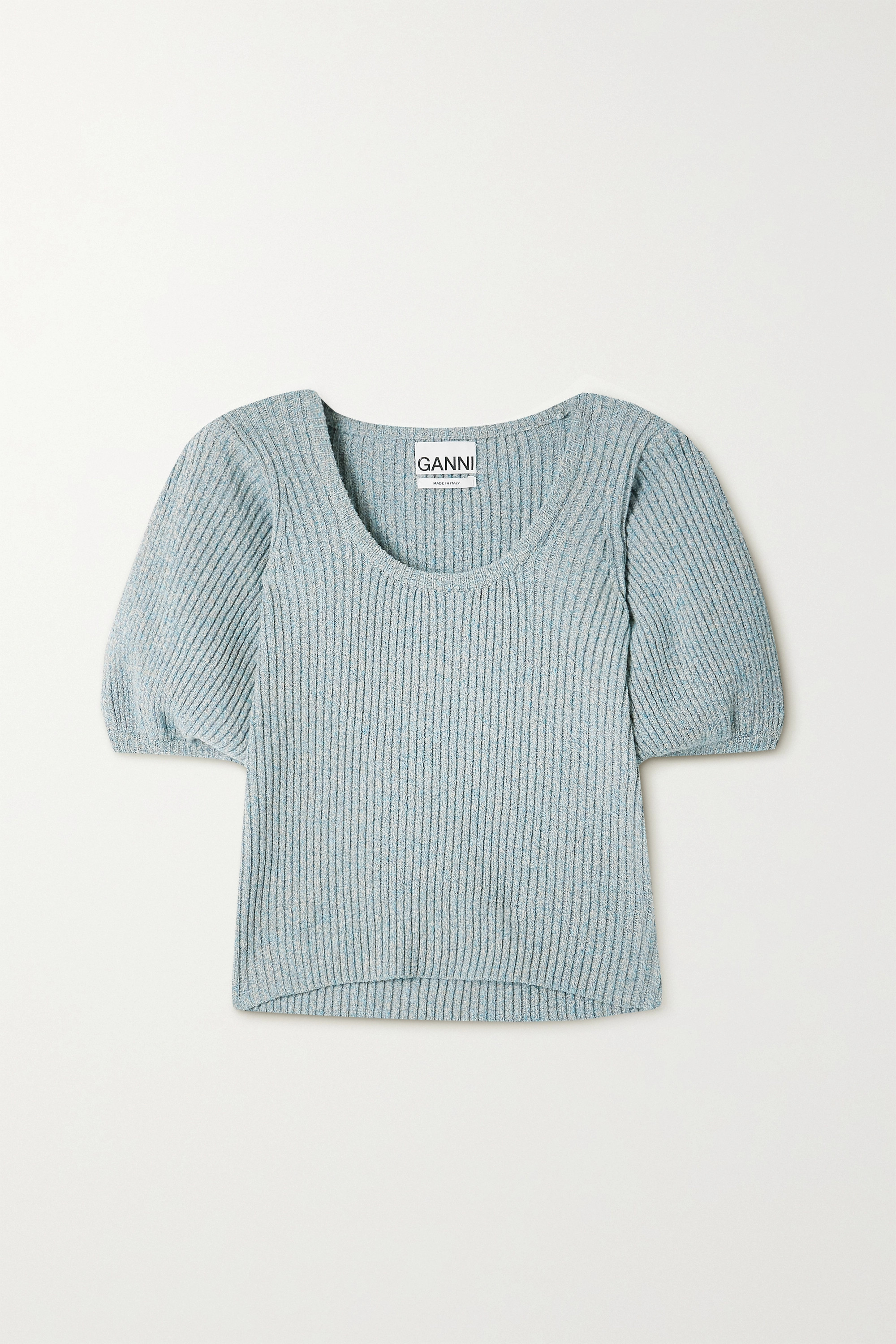 GANNI Ribbed mélange linen and cotton-blend sweater