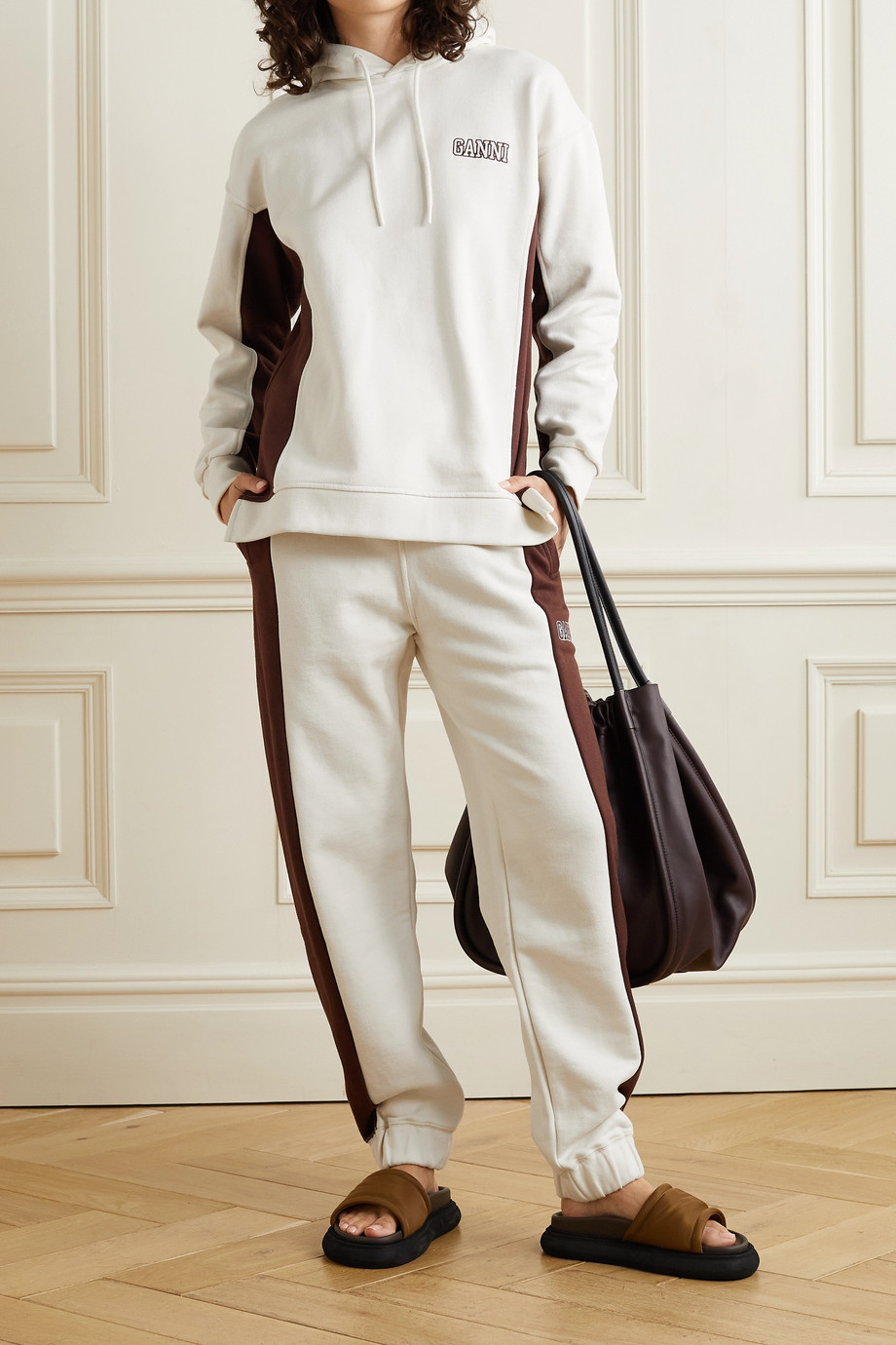 GANNI Software Block Isoli striped organic cotton-blend jersey track pants
