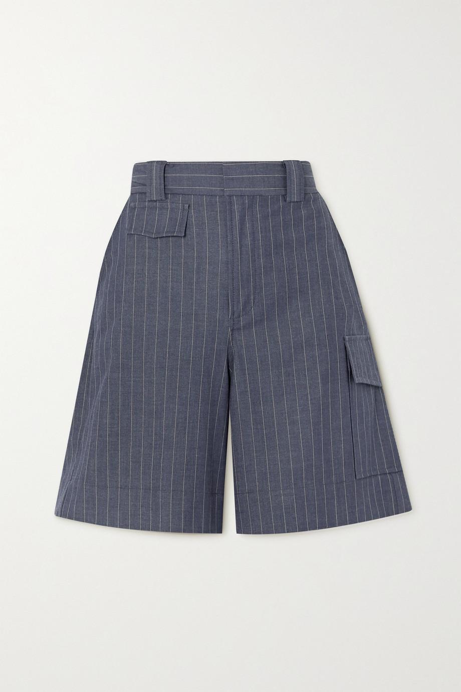 GANNI Pinstriped twill shorts