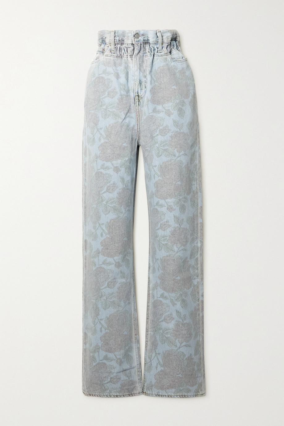 GANNI + Levi's floral-print high-rise straight-leg jeans